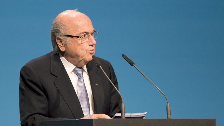 FIFA President Sepp Blatter delivers his speech at the UEFA Congress in Vienna
