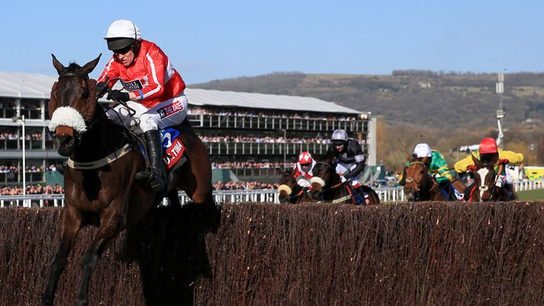 The Druids Nephew ridden by Barry Geraghty jumps the last fence