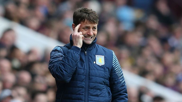 Manager Tim Sherwood of Aston Villa on the touchline