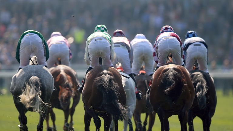Runners and riders as they head around the second lap of the Betfred Bowl Chase
