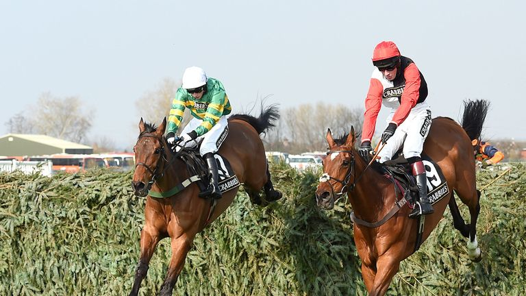 On The Fringe (left) ridden by Nina Carberry clears the final fence to win the Crabbie's Fox Hunter Chase at Aintree