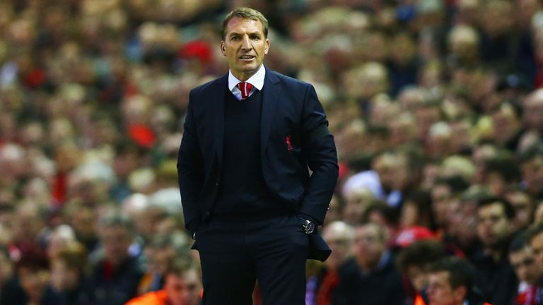 Liverpool manager Brendan Rodgers issues instructions at Anfield
