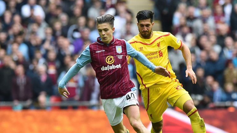 Emre Can chases Jack Grealish during the FA Cup semi-final between Aston Villa and Liverpool at Wembley stadium in London on April 19, 2015.
