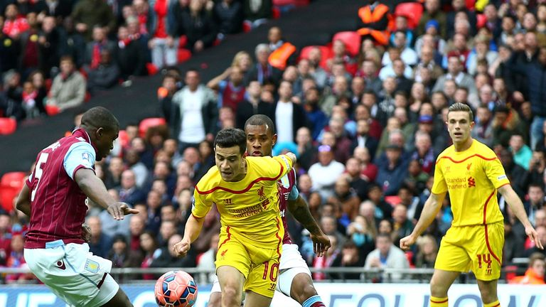 Philippe Coutinho opens the scoring against Aston Villa