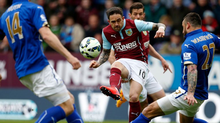 Burnleys Danny Ings has a shot during the Barclays Premier League match at Turf Moor, Burnley.