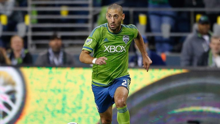 Clint Dempsey of the Seattle Sounders dribbles against the New England Revolution