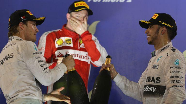 Raikkonen split the Mercedes' on the podium