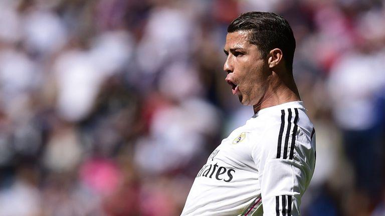Real Madrid's Portuguese forward Cristiano Ronaldo celebrates after scoring a goal during the Spanish league