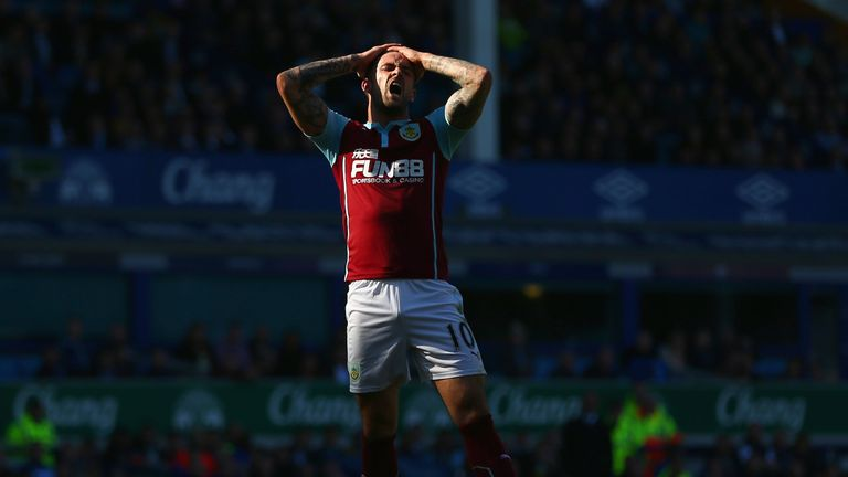 Burnley's Danny Ings reacts after missing a chance to score against Everton