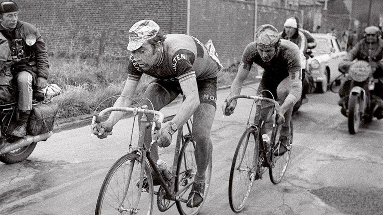 Eddy Merckx battles with Roger de Vlaeminck during the 1973 Paris-Roubaix