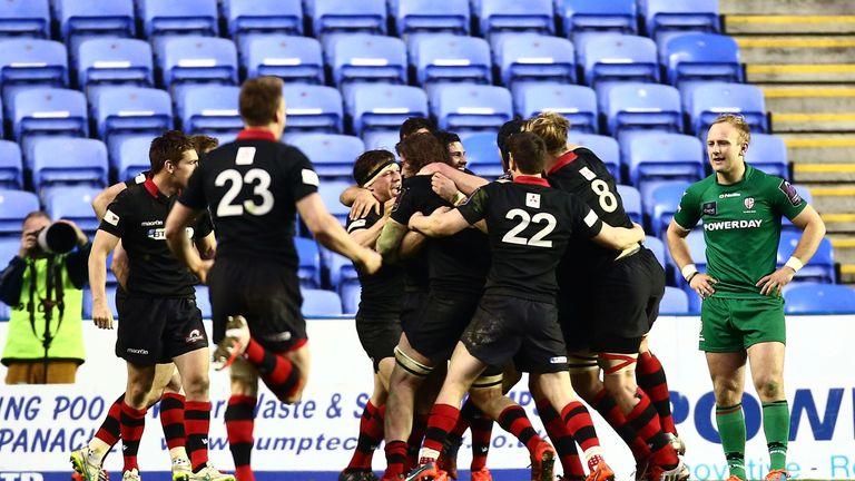 Edinburgh celebrate after the final whistle at the Madejski Stadium