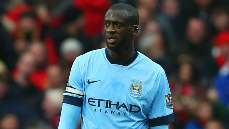 Yaya Toure looks dejected during the Premier League match between Manchester United and Manchester City at Old Trafford