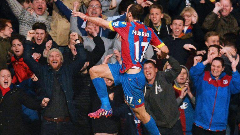Crystal Palace striker Glenn Murray celebrates his goal against Manchester City
