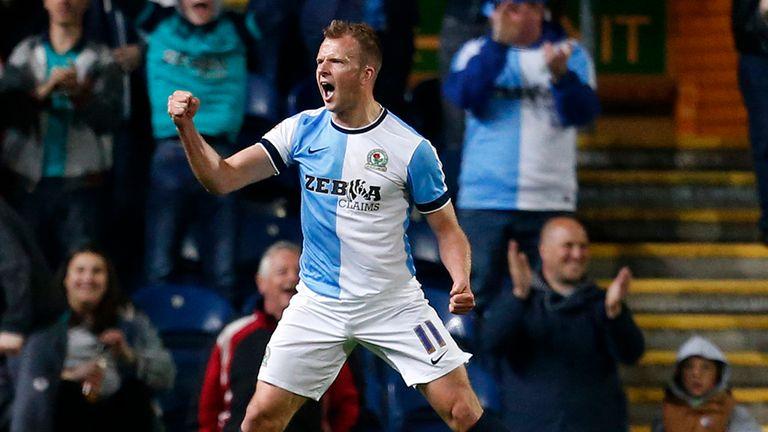 Blackburn's Jordan Rhodes celebrates after scoring against Millwall
