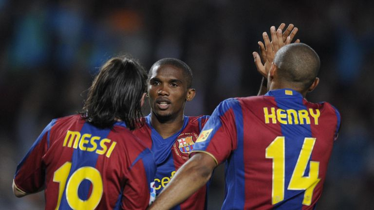 FC Barcelona's Thierry Henry (R), Samuel Eto'o (C) and Leo Messi (R) celebrate the first goal during their Spanish League football match against Mallorca o