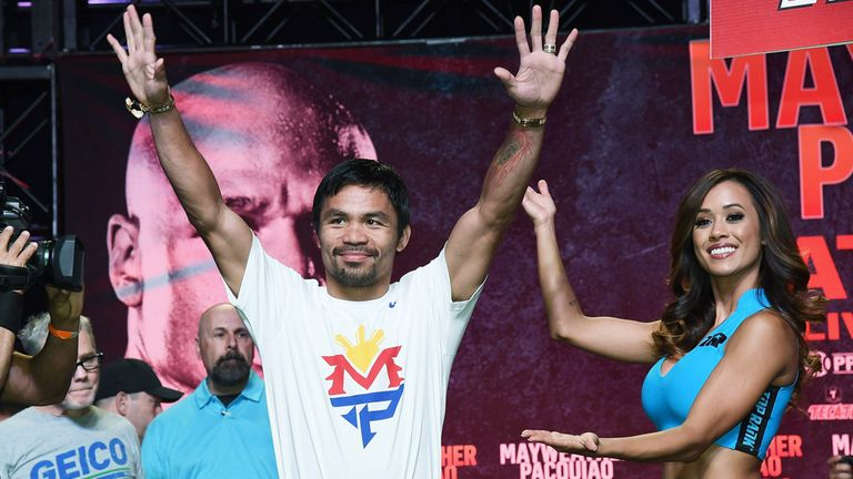 Manny Pacquiao: Arrives at a fan rally in Las Vegas