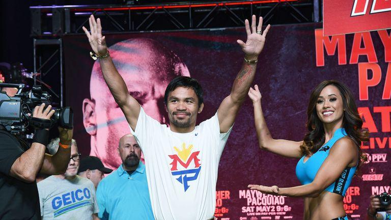 Manny Pacquiao arrives at a fan rally at the Mandalay Bay