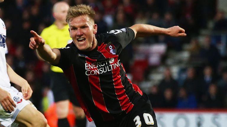 Matt Ritchie celebrates his goal for Bournemouth against Bolton