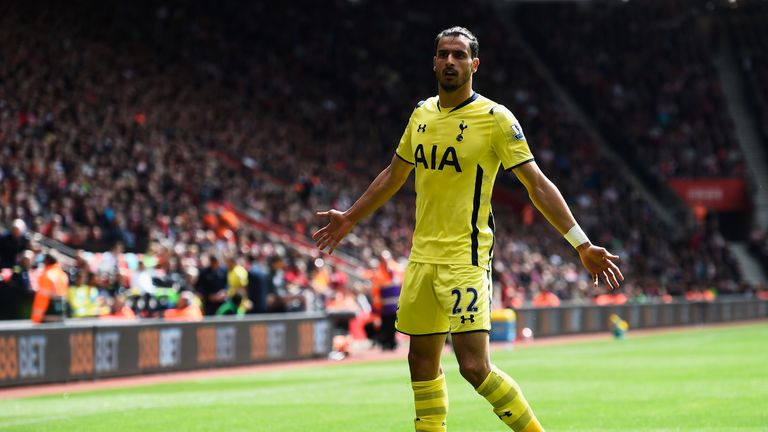 Nacer Chadli of Spurs celebrates as he scores their second goal to equalise again