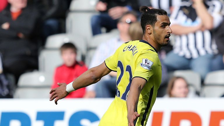 Nacer Chadli celebrates after putting Tottenham in front