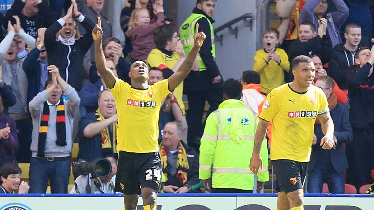 Odion Ighalo (L) and Troy Deeney: Both scored against Middlesbrough