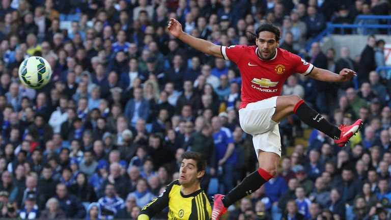 Manchester United's Radamel Falcao competes with Chelsea's Thibaut Courtois