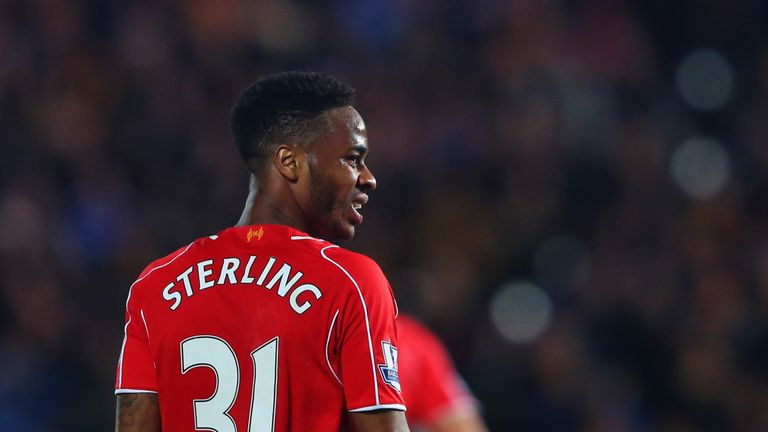 Raheem Sterling of Liverpool looks on during the Barclays Premier League match between Hull City and Liverpool at KC Stadium