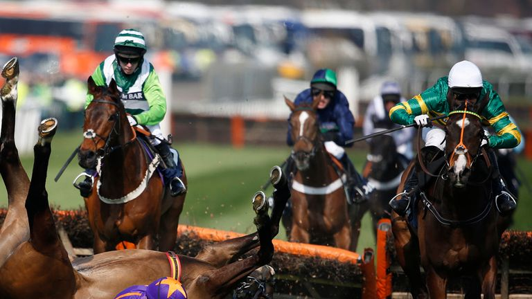 Jezki (R) clears the last as Ruby Walsh riding Arctic Fire falls