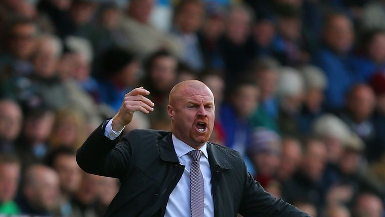 BURNLEY, ENGLAND - APRIL 11: Manager Sean Dyche of Burnley reacts during the Barclays Premier League match between Burnley and Arsenal at Turf Moor on Apri