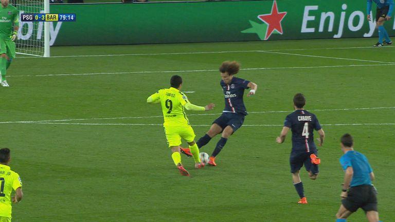 Suarez nutmegged David Luiz twice during Barcelona's win at PSG