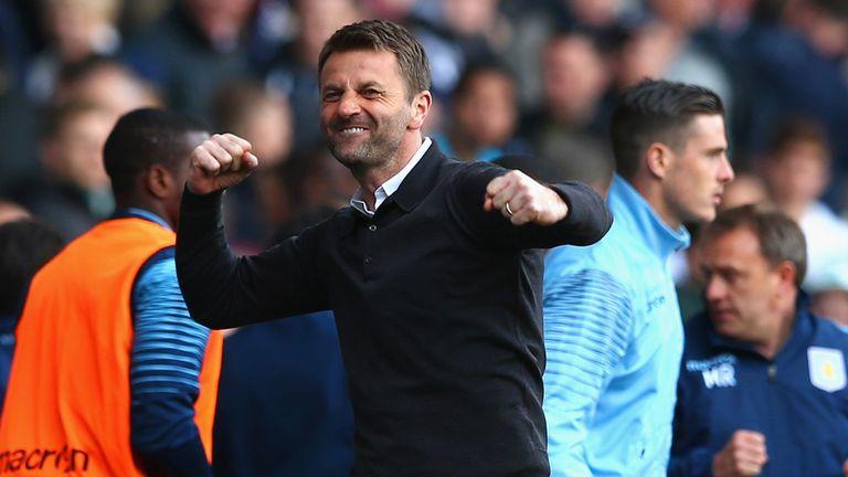 Aston Villa manager Tim Sherwood celebrates his side's victory over Tottenham