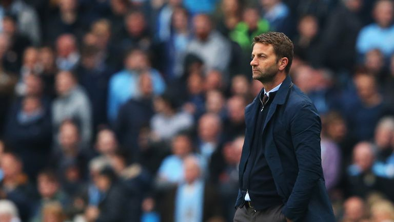 Tim Sherwood, manager of Aston Villa looks on during the Barclays Premier League match between Manchester City and Aston Villa