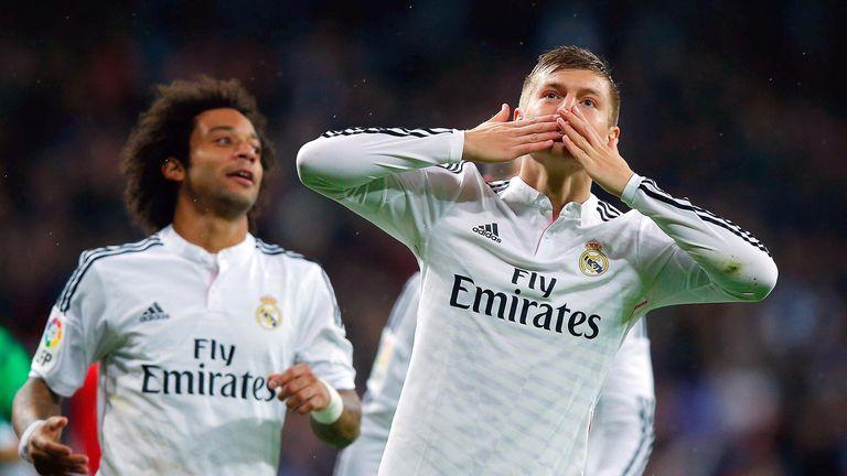 Toni Kroos of Real Madrid CF celebrates scoring their third goal during the La Liga match between Real Madrid CF and Rayo Vallecano
