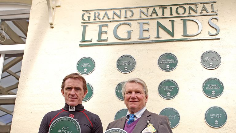 Tony McCoy is installed into the Grand National Legends Wall of Fame along with Ian Balding