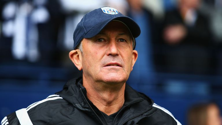Manager Tony Pulis of West Brom looks on during the Barclays Premier League match between West Bromwich Albion and Liverpool