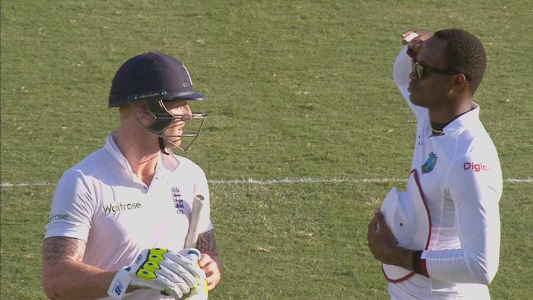 Marlon Samuels salutes Ben Stokes during the second Test, in Grenada