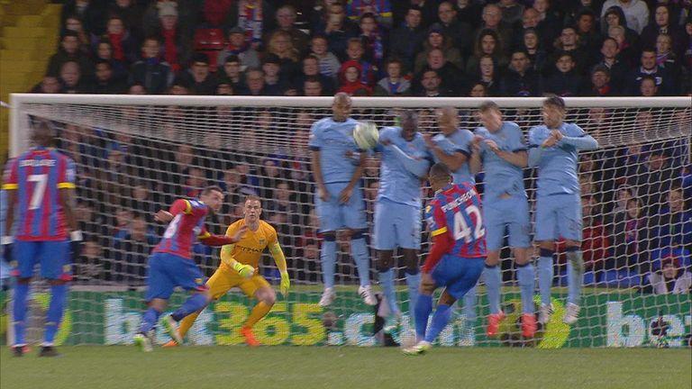 Yaya Toure: Man City's five-man wall failed to block Jason Puncheon's free-kick