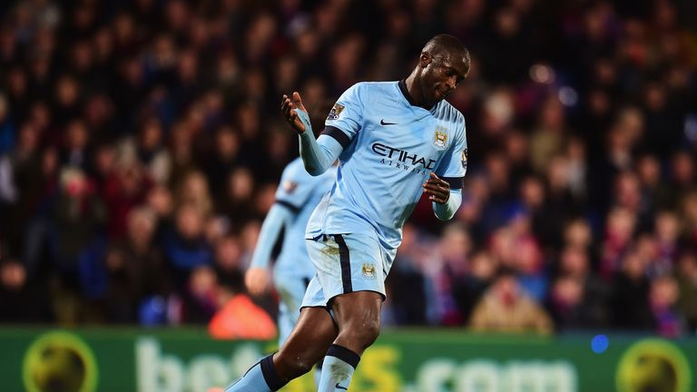 Yaya Toure of Manchester City scores against Crystal Palace at Selhurst Park on April 6, 2015