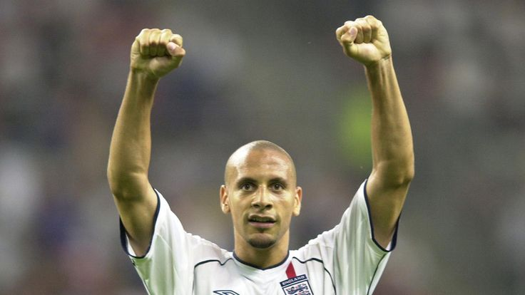 Rio Ferdinand celebrates after England secured their place in the quarter-finals of the 2002 World Cup finals