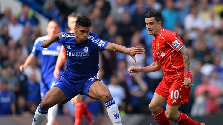 Chelsea's Ruben Loftus-Cheek prepares to challenge Liverpool's Philippe Coutinho during the Premier League match at Stamford Bridge on May 10, 2015