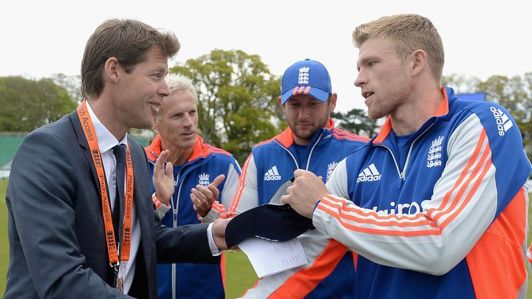 David Willey receives his first England cap in the ODI against Ireland last year