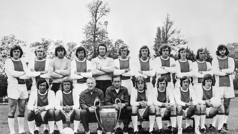 The great Ajax team pose with the European Cup they won in 1972