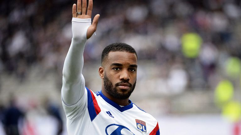 Lyon's French forward Alexandre Lacazette gestures before the French L1 football match between Lyon and