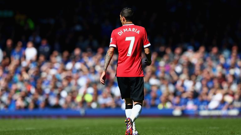 Angel Di Maria of Manchester United in action during the Barclays Premier League match between Everton and Manchester United at Goodison Park