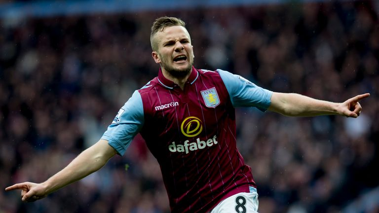 Villa's Tom Cleverley celebrates his goal to regain a two-goal advantage at 3-1 and secure three points - despite an injury-time Phil Jagielka goal