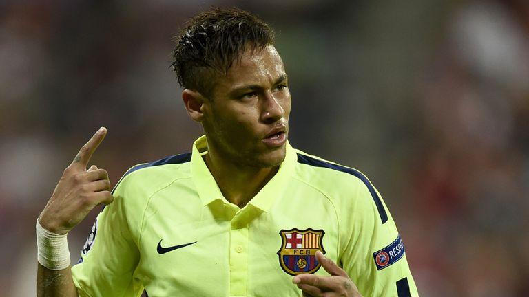 Neymar celebrates scoring his second goal
