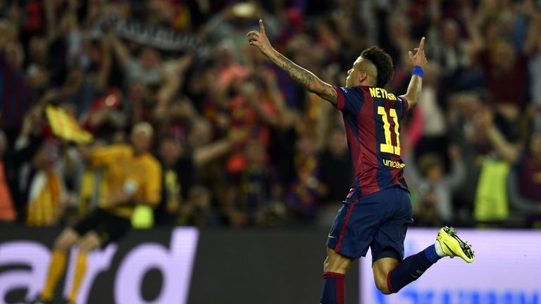 Barcelona's Brazilian forward Neymar da Silva Santos Junior celebrates after scoring