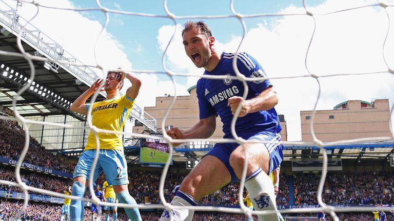 Branislav Ivanovic celebrates after Eden Hazard's headed goal