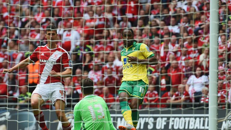 LONDON, ENGLAND - MAY 25:  Cameron Jerome of Norwich City (10) scores their first goal past gaolakeeper Dimitrios Konstantopoulos of Middlesbrough during t