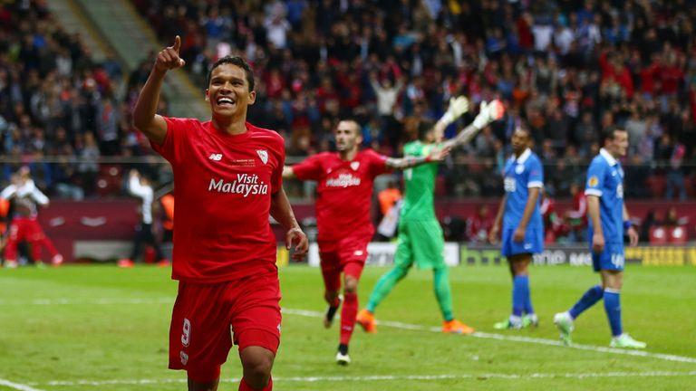 Carlos Bacca celebrates Sevilla's winner
